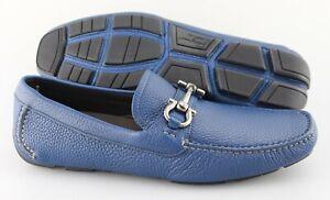 Men's SALVATORE FERRAGAMO 'Parigi' Blue Leather Loafers Size US 8.5 - D