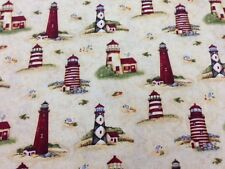 Country Lighthouses Quilting Fabric by the Yard - Q401