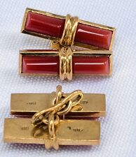 Red Coral and 18k Gold Cufflinks - - 2 pieces, Man or Woman's