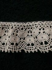 Vintage Crocheted Light Tan Ruffled Trim Border Edging Ribbon 2 Yards
