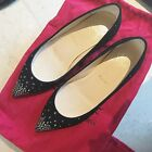 100% Authentic Christian Louboutin Black Suede Strass Flats Size 5.5