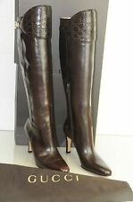 NEW GUCCI Gold Brown Leather ALLIGATOR  CROCODILE Knee High OTK Boots SHOES 7