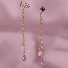Solid rose gold 585 /14k dangle chain briolette amethyst stud earrings NWT