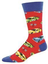 Socksmith Mens Crew Socks Pit Stop Nascar Car Racing Red Novelty Footwear New