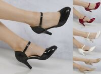 NEW WOMEN LOW HEEL ANKLE STRAP MARY JANE ROUND TOE CASUAL SHOES 345678