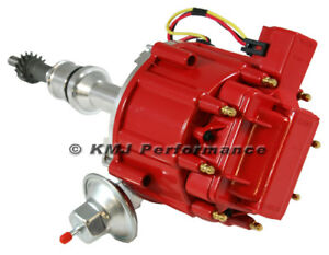 SBF Ford 351W Windsor Red Cap Drop In One Wire HEI Distributor w/ 65kv Coil