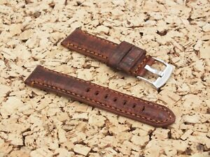 TZEVELION Antiqued Cracked French Leather Buck Lined Watch Strap 22mm Nut Brown