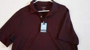 NWT Van Heusen Air Polo Shirt Men's Large/Tall Burgundy Short Sleeve Sharp $65