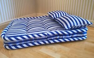 1/12th Scale Dolls House Striped Double Matress & 2 Pillows.