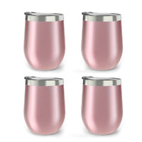 4 Pack Stainless Steel Stemless Wine Glass Tumbler 350ml Double Wall Tumbler Set