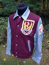 Mens Vtg 2 Field Ambulance Wool & Leather Letterman Varsity Jacket Sz S Petawawa