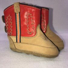 Old West Leather Crib Boots Shoes Boy's 4