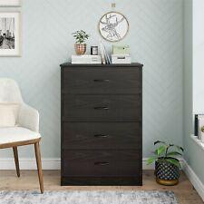 40 Tall 4-Drawer Modern Dresser Bedroom Storage Wood Furniture Black Oak Finish