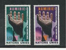 UNITED NATIONS, GENEVA # 53-54 MNH 1975 NAMIBIA, HAND OVER MAP