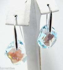 GALET LIGHT AZORE BLUE PIERCED EARRINGS SWAROVSKI CRYSTAL JEWELRY  949740