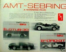 1965 AMT Model Slot Car High Speed Racing Kits Lotus-30~Ford-GT Promo Trade AD