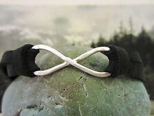 Infinity Bracelet - Sterling Silver and Deerskin Leather - mens/womens - black