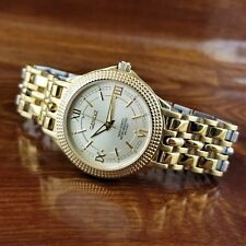 Mens Geneve Swiss Made 14K Gold Plated Coin Edge Bezel Watch 165' WR
