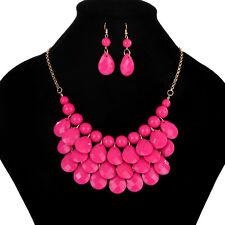 Fashion Women Jewelry Crystal Chunky Statement Bib Pendant Chain Choker Necklace