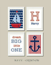 Set of 4 Personalised Nautical Nursery Prints, (unframed).