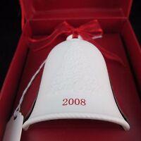 Hallmark Christmas Bell Ornament Porcelain 2008 Happy Holidays