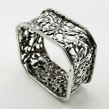 More details for beautiful victorian sterling silver square pierced napkin ring birmingham 1883