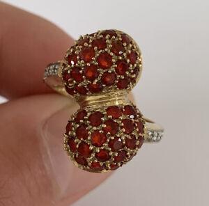 9ct Gold Garnet & Diamond Large Heavy Double Cluster Ring, 9k 375