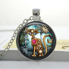 STEAMPUNK CAT PENDANT NECKLACE / Chain Glass Silver Jewellery Gift Idea