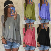 Fashion Women Long Sleeve Shirt Casual Lace Blouse Loose Cotton Tops Shirt S-XL