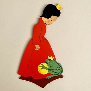 Märchen-Holzbild ALT 1950er 20cm Mertens-Kunst Kleine Prinzessin Wand-Figur 🎁
