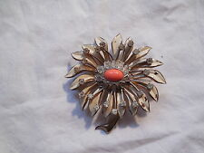 Nettie Rosenstein sterling silver & enamel large flower brooch