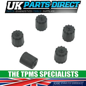 TPMS SAFE Valve Caps for De Tomaso - Black Plastic Tyre Pressure Sensor caps