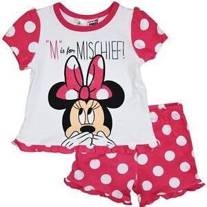 BNWT Baby Toddler Girls Disney Minnie Mouse Summer Pyjamas PJs Sleep - 00 0 1 2
