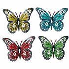Set of 4 Multi-coloured Small Metal Butterflies Garden/Home Wall Art Ornament
