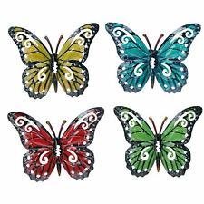 Set of 4 Multicolored Small Metal Butterflies Garden/Home Wall Art Ornament