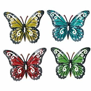 Set of 4 Multi-coloured Small Metal Butterflies Garden/Home Wall Art Ornament