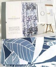 Blue White Floral Fabric Shower Curtain Cotton Machine Wash 72x72 Standard Hang