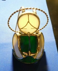 STAINED GLASS TYPE ANGEL CANDLE HOLDER!   c542QXX