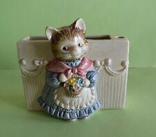 Vintage Otagirl Kitty Cat Pen and Paper Desk Holder Ceramic