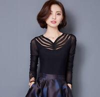 Women Elegant Korean Ladies Slim Long Sleeve V Neck Lace T Shirt Blouse Tops