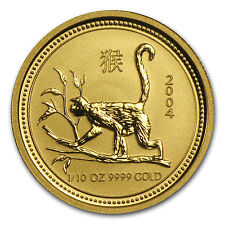 2004 1/10 oz Gold Lunar Year of the Monkey BU (Series I) - SKU #1030