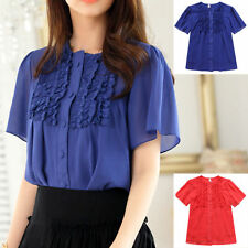Waist Length Chiffon No Pattern Tops & Shirts for Women