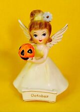 Happy Halloween! October Angel Figurine Birthday Girl Nanco Pumpkin Very Rare!