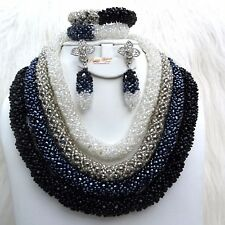 Black Silver Off White Beautiful Mixed 4 Layers Crystal Party Wedding Bridal Set