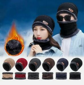 2pcs Hat set Unisex Winter Beanie Hat and Scarf Fleece Lining Warm Knitted Caps