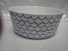 "Waggo Sketched Wave Pet Water Bowl ~ Ceramic ~ 6 3/4"" Diameter X 2 1/2"" Deep"
