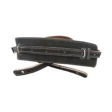 Vintage Leather Guitar Strap - Black Suede - AG213