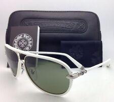 New CHROME HEARTS Aviator Sunglasses M. FLAPS WT White & Silver w/ Green Lenses