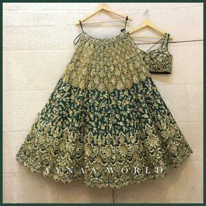 Bridal Designer Wedding Lehenga Choli Indian Party Wear Green Pakistani Lengha