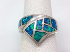 Boulder Opal Inlay Bypass Modern Band Ring Size 7 Sterling Silver 925 FMGE